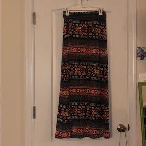 Teal, Black, Orange Maxi Skirt